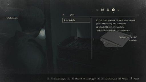 Resident Evil 2 Remake Biohazard Türkçe Yama 4. Ekran Görüntüsü